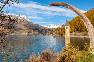 submerged bell tower Resia Italy
