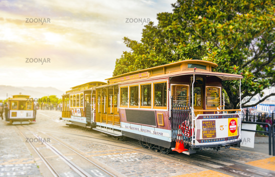 traditional San Francisco cable car
