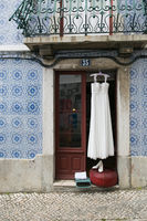 Wedding dress at the entrance of the House