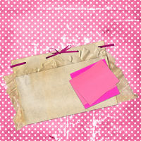 Congratulation card with sheets on rosy background