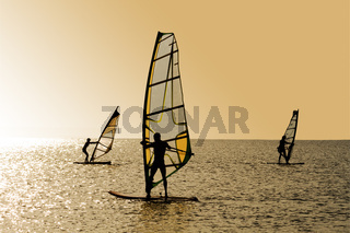 Silhouettes of three windsurfers on waves of a gulf