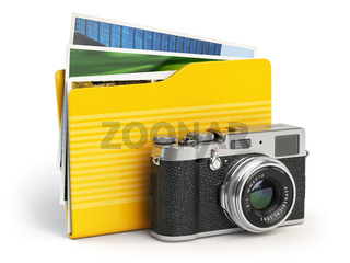 Photo album pc folder icon. Photo camera and folder isolated on white.