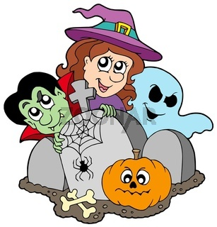 Cemetery with Halloween characters - isolated illustration.