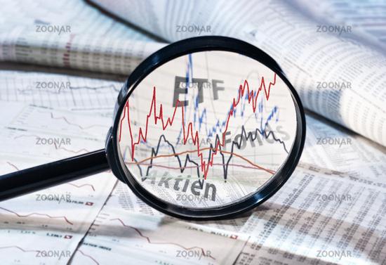 Lupe und Kurse von ETF, Fonds und Aktien