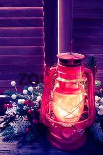 Kerosene lamp in the Christmas night