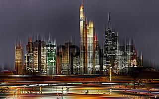 Frankfurt/Main in der Nacht, Deutschland, grafisch abstrakt (digital manipuliert)