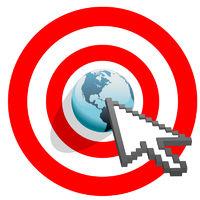Internet arrow clicks targeted world bulls eye target