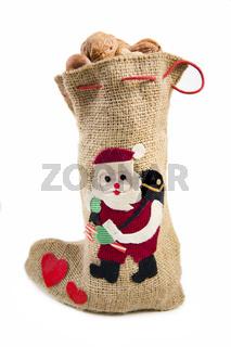 Jutesack mit Nüssen zu Weihnachten - jute sack with nuts at christmas