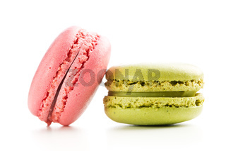 Strawberry and pistachio macaroons.