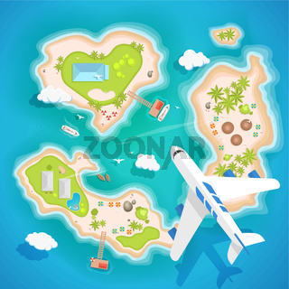 islands top aerial view - travel tourism vector illustration