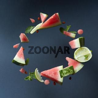 fresh fruits isolated on black