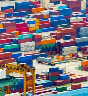 Overloaded Singapore industrial transportation port
