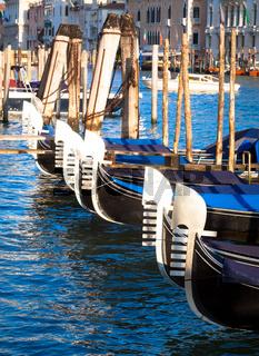 Venice, Italy. Gondolas detail