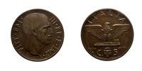 Five 5 cents Lire Copper Coin 1936 Empire Vittorio Emanuele III Kingdom of Italy
