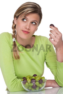 Healthy lifestyle series - Woman with bowl of grapes