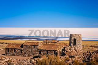 Old building on the shore of Salar de Uyuni