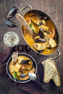 Bouillabaisse in Copper Pan