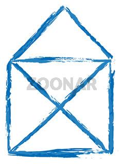 simple blue house sketch