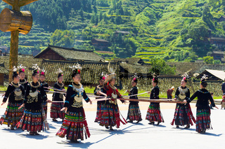 Miao Minority Women Ribbon Dance Festival Xijiang