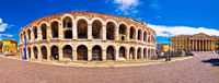 Roman amphitheatre Arena di Verona and Piazza Bra square panoramic view