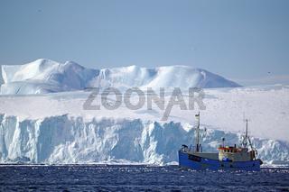 Fischerboot vor Eisbergen nahe Ilulissat