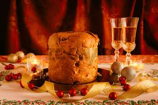 Christmas cake and sparkling wine