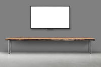 Tv blank screen on gray color  wall with empty wooden table interior vintage style
