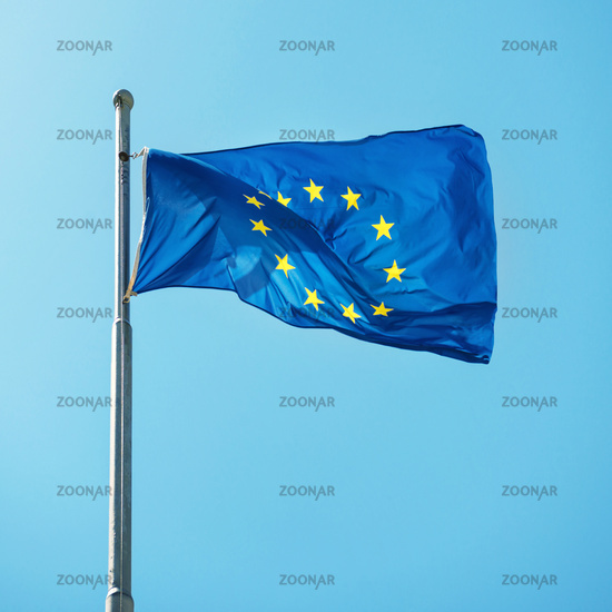 Waving Europian Union EU flag