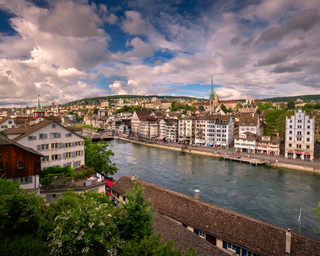 Aerial View of Zurich Skyline and Limmat River, Zurich, Switzerland