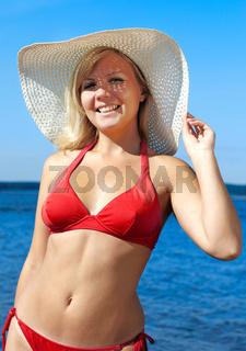 blonde in red bikini