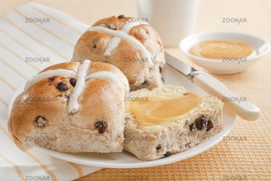 Hot Cross Buns with Honey