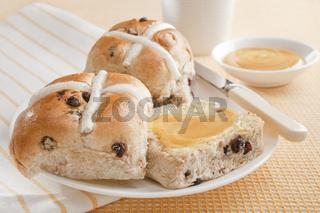 Hot Cross Buns with Honey