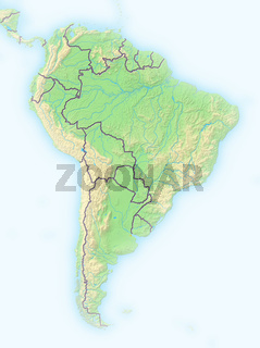 Südamerika, Reliefkarte.