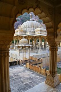 Framed view of Royal cenotaphs in Jaipur, Rajasthan, India