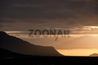 Island, Sonnenuntergang über dem Tal der Krossá