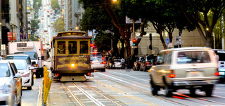 Cable car in the traffic