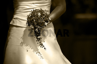 Brautstrauß in sepia