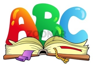 Cartoon ABC letters with open book - color illustration.