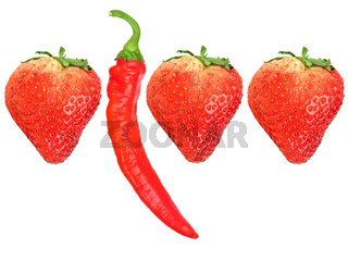 Fresh strawberryes and red chili-pepper