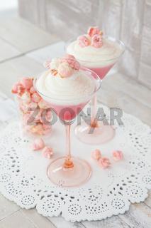 Creme Dessert mit Popcorn