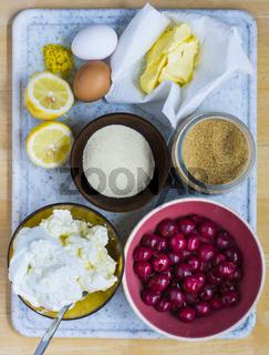 Zutaten für einen Kirsch-Käsekuchen