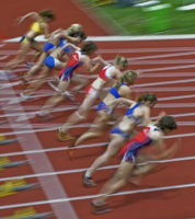 100m-Start der Frauen - Typical (verwischt)