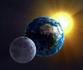 Astronomy illustration - Moon, Earth and the Sun