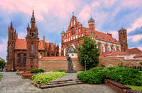 Brick gothic churches in the Old Town of Vilnius, Lithuania