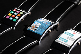 close up of black smart watch set with multimedia