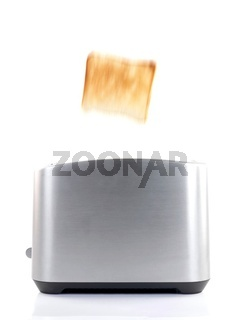 Plain white toast popping up from a toaster isolated against a white background