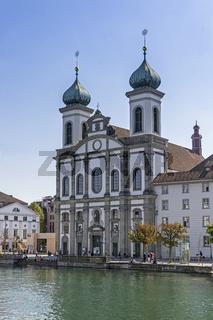 Jesuit Church thru River Reuss Lucerne, Switzerland, Europe