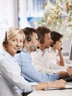 Happy customer service operator