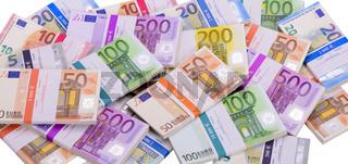 Euro Banknoten und Geldbündel