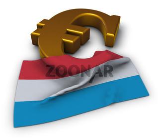 eurosymbol und flagge von luxemburg - 3d rendering